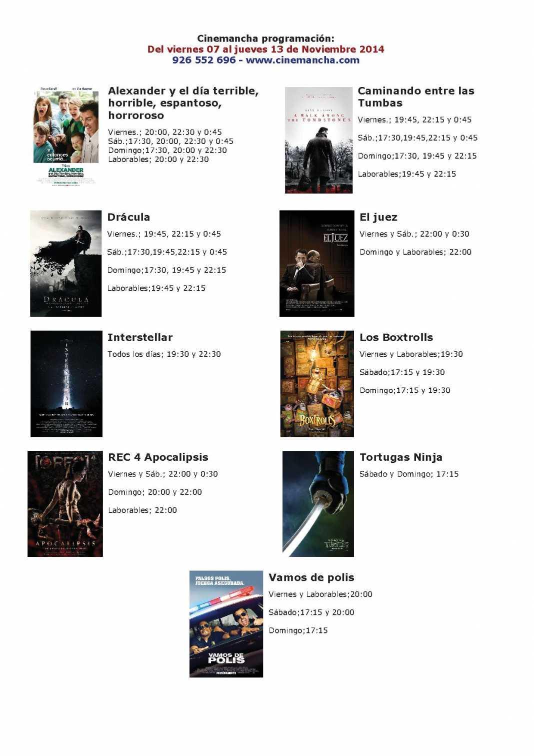 Cartelera Cinemancha del 7 al 13 de noviembre 1