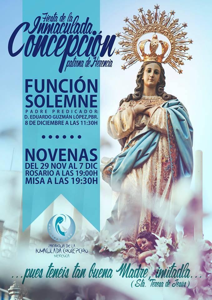 Cartel fiesta de la inmaculada de Herencia 2014 - Fiesta en honor a la Inmaculada Concepción