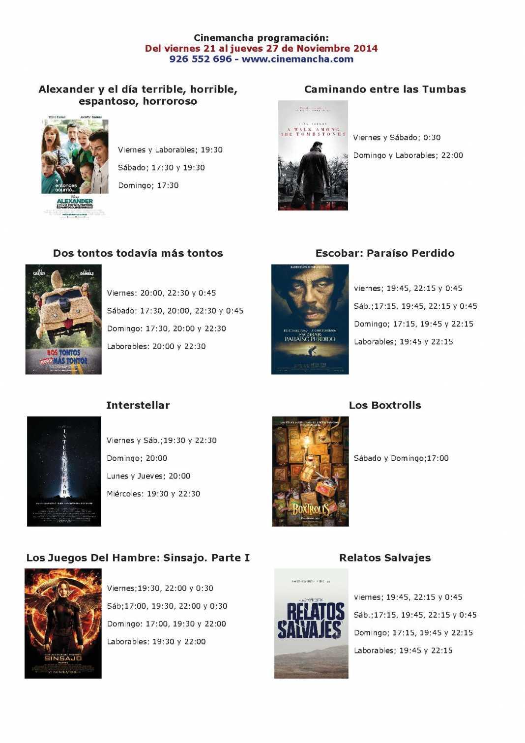 cartelera de cinemancha del 21 al 27 de noviembre 1068x1511 - Cartelera Cinemancha del 21 al 27 de noviembre