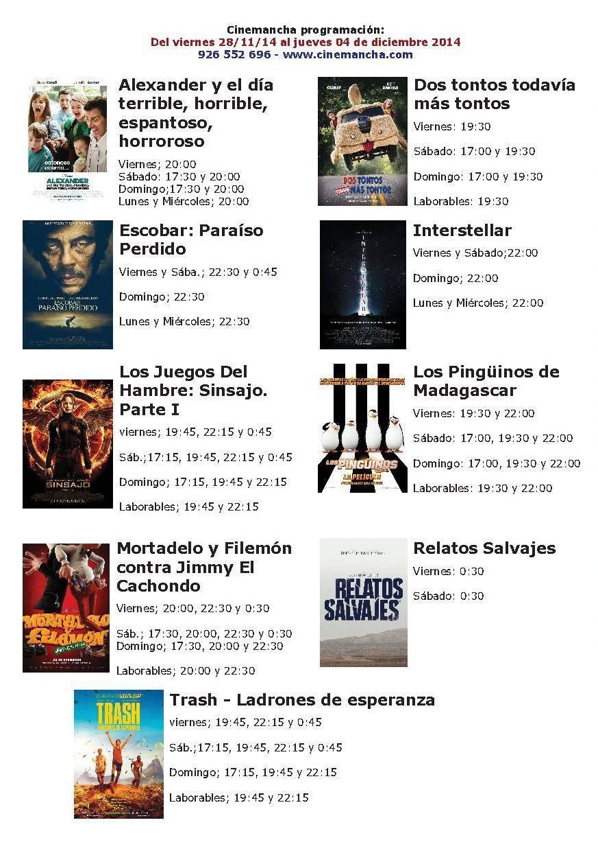 cartelera del 28 11 14 al 04 12 14 - Cartelera Cinemancha del 28-11-14 al 04-12-14