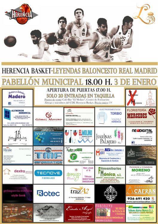 Cartel partido baloncesto Leyendas del Real Madrid - Las leyendas del baloncesto del Real Madrid jugarán en Herencia