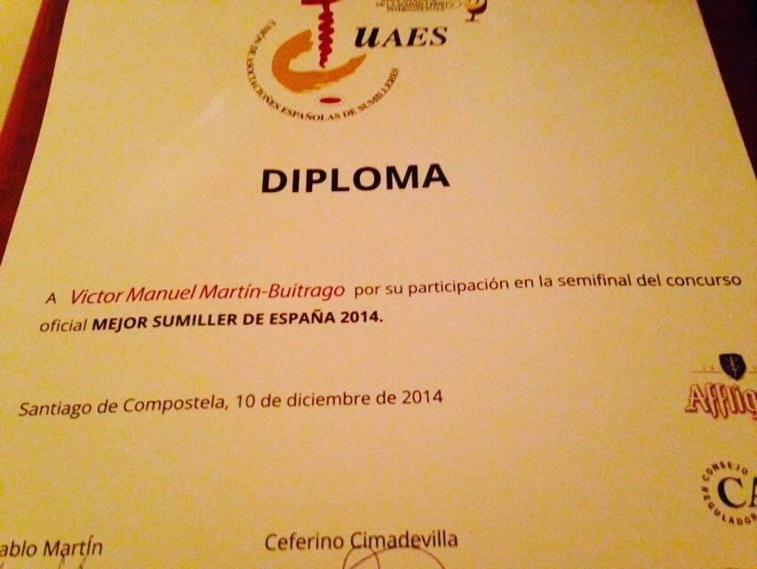 Concurso Mejor Sumiller de Espa%C3%B1a 2014 - Víctor Martín, entre los mejores sumilleres de España 2014