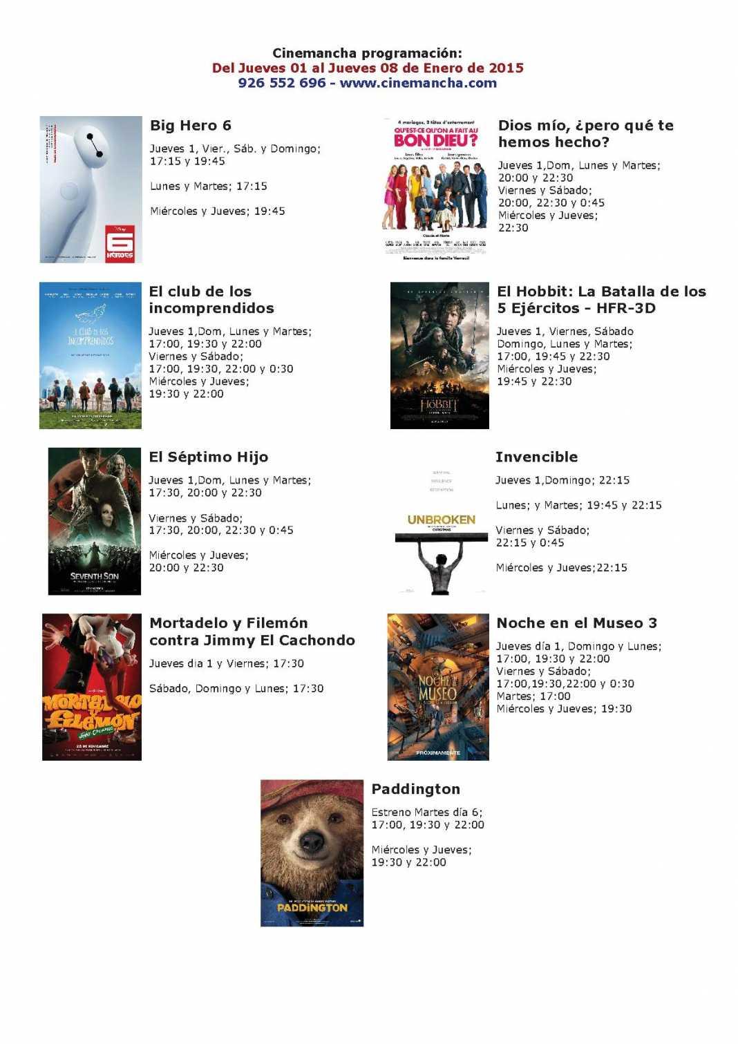 Cartelera de Cinemancha del 01 al 08 de Enero 1