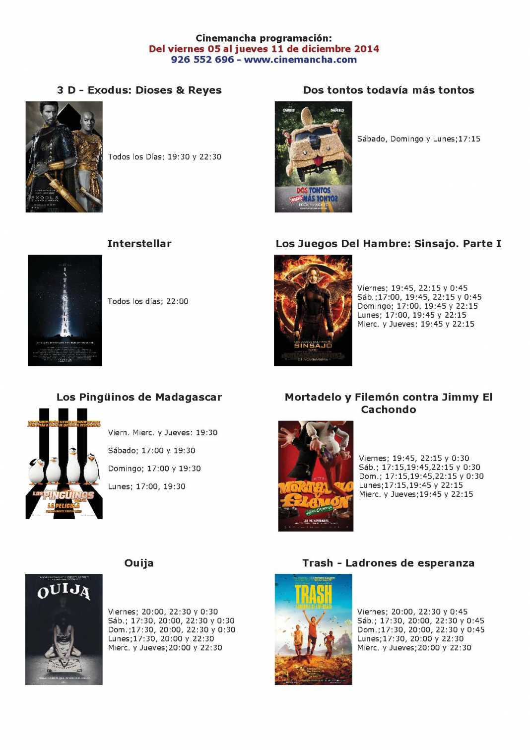 Cartelera de Cinemancha del 05 al 11 de diciembre 1