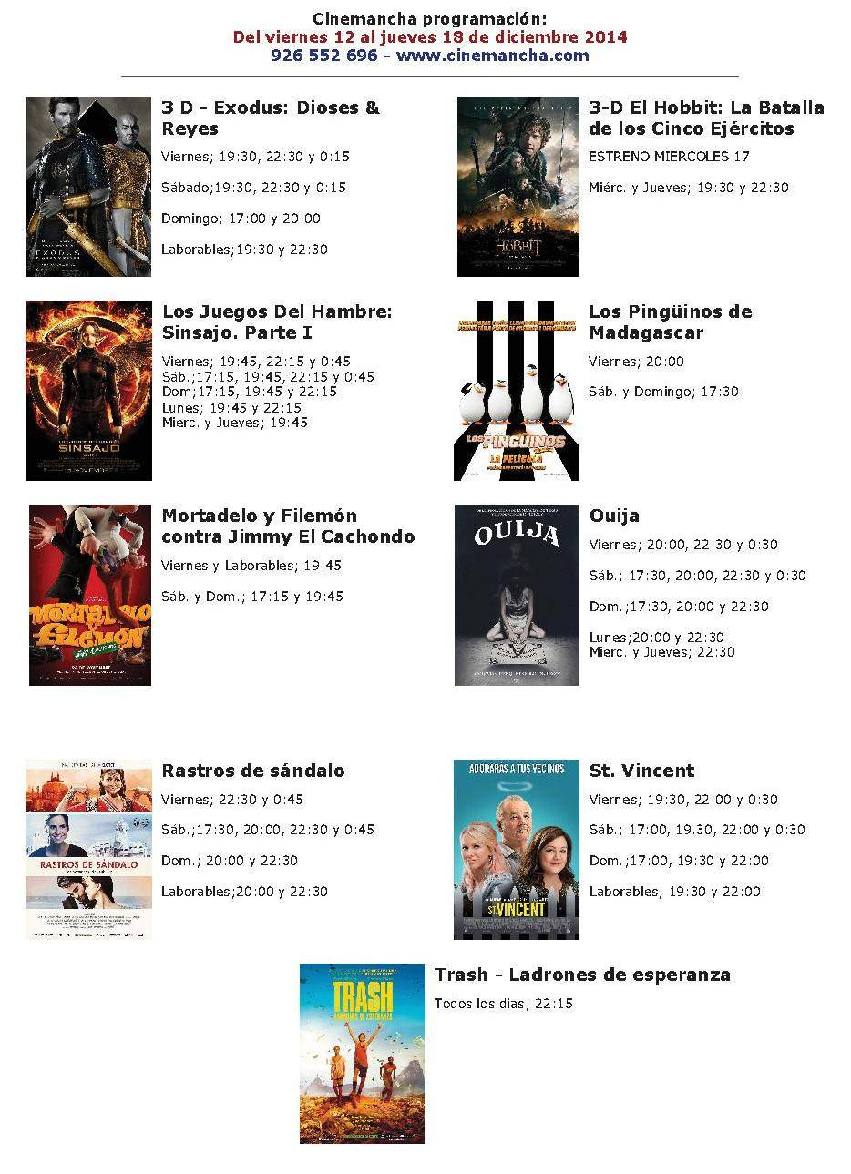 Cartelera de Cinemancha del 12 al 18 de diciembre 1