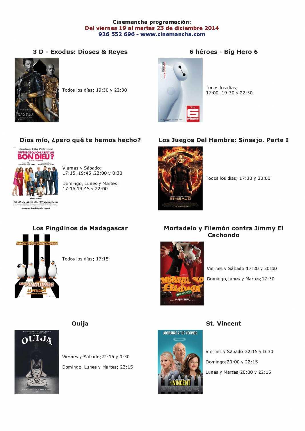 cartelera de cinemancha del 19 al 23 de diciembre 1068x1511 - Cinemancha programación: Del viernes 19 al martes 23 de diciembre 2014