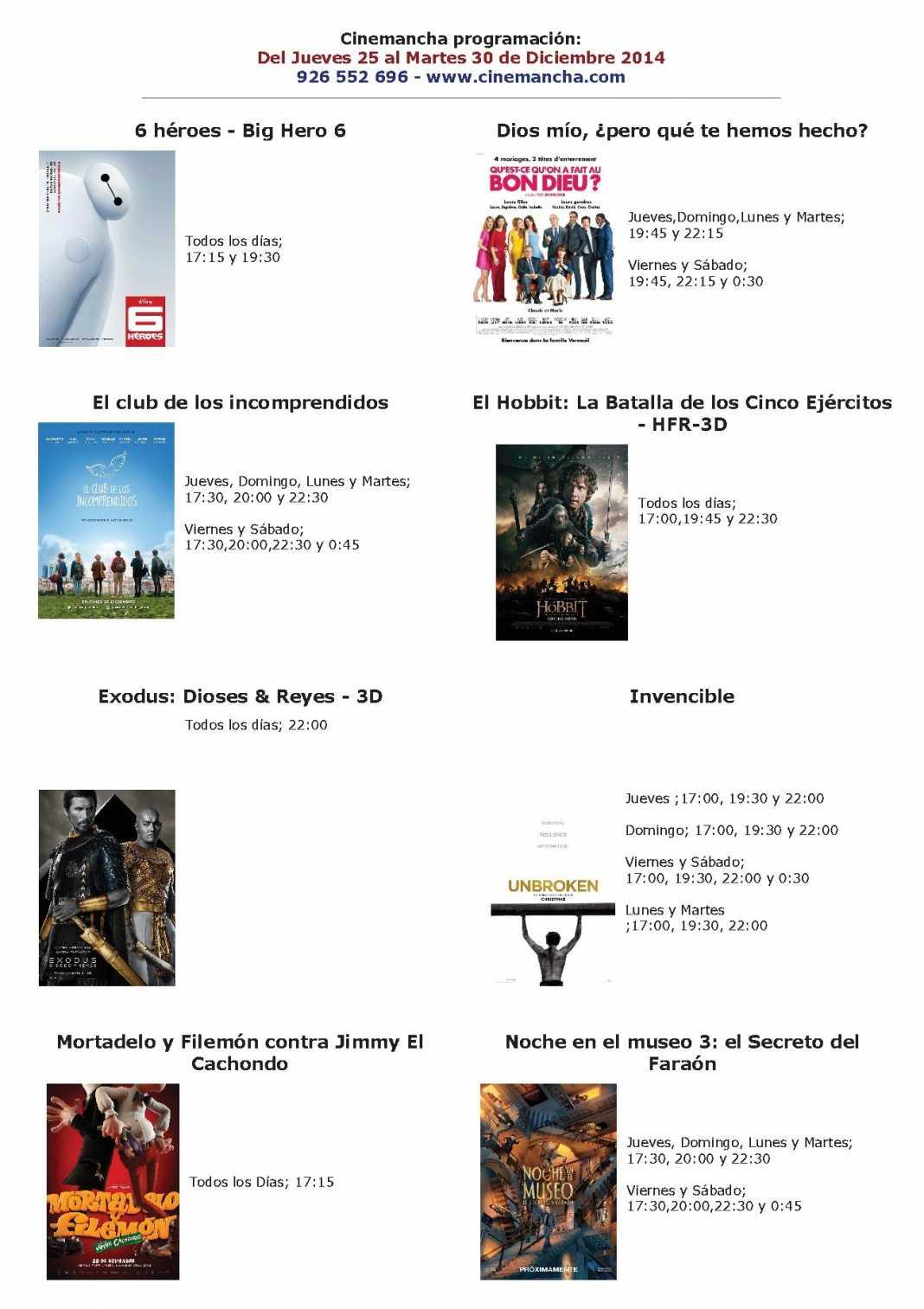 cartelera de cinemancha del 25 al 30 de diciembre 1068x1513 - Cartelera Cinemancha del 25 al 30 de diciembre