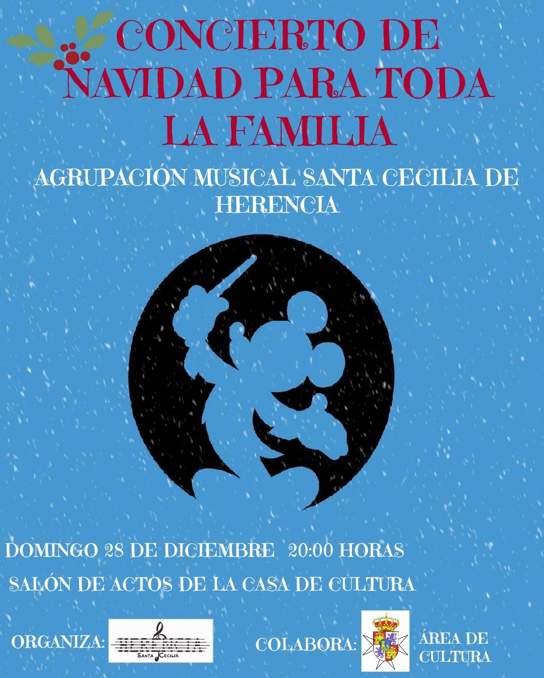 """Cartel concierto de navidad de la agrupación musical """"Santa Cecilia"""" de Herencia"""
