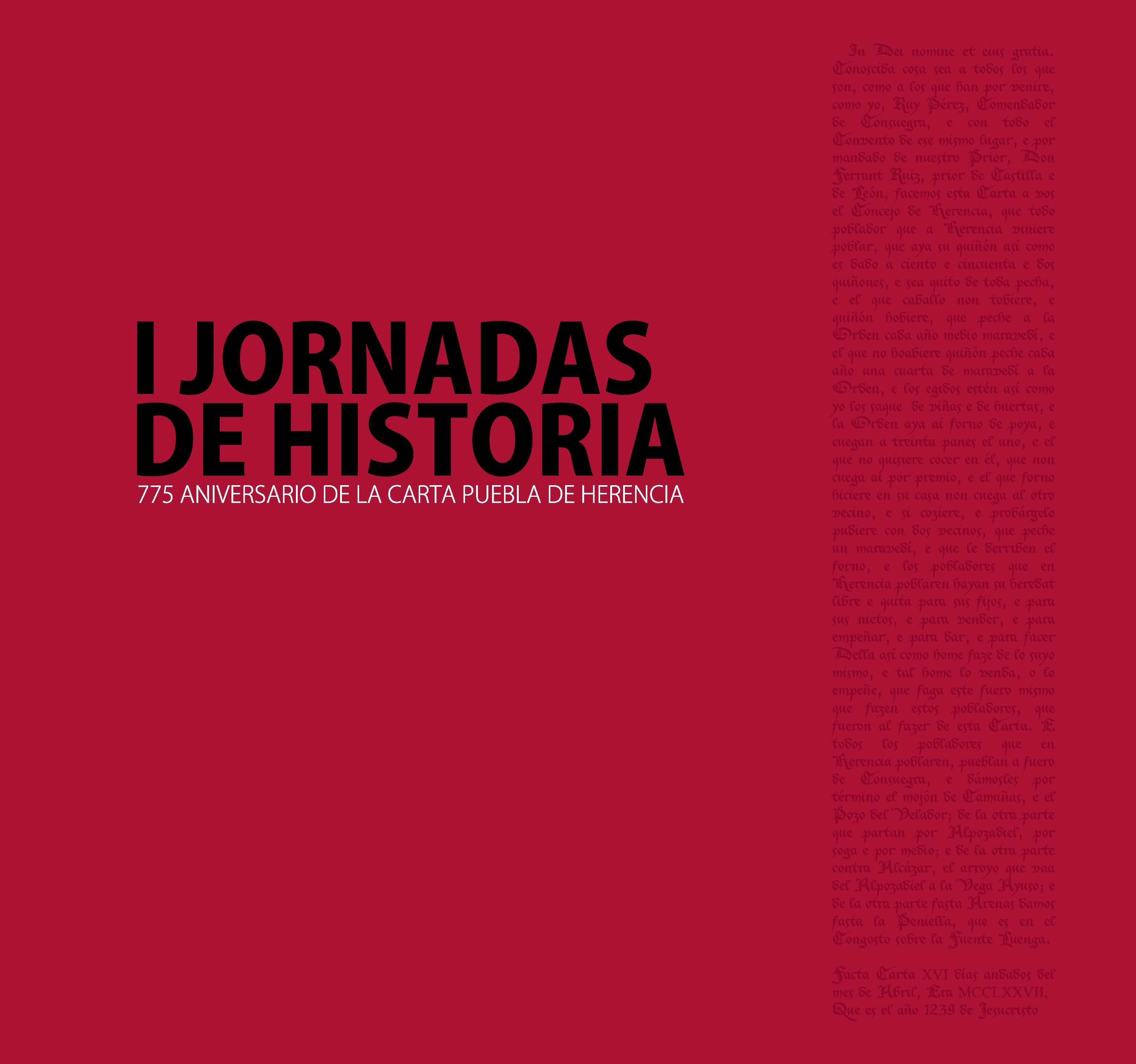 """Portada del libro """"I Jornadas de Historia. 775 aniversario de la Carta Puebla de Herencia"""""""