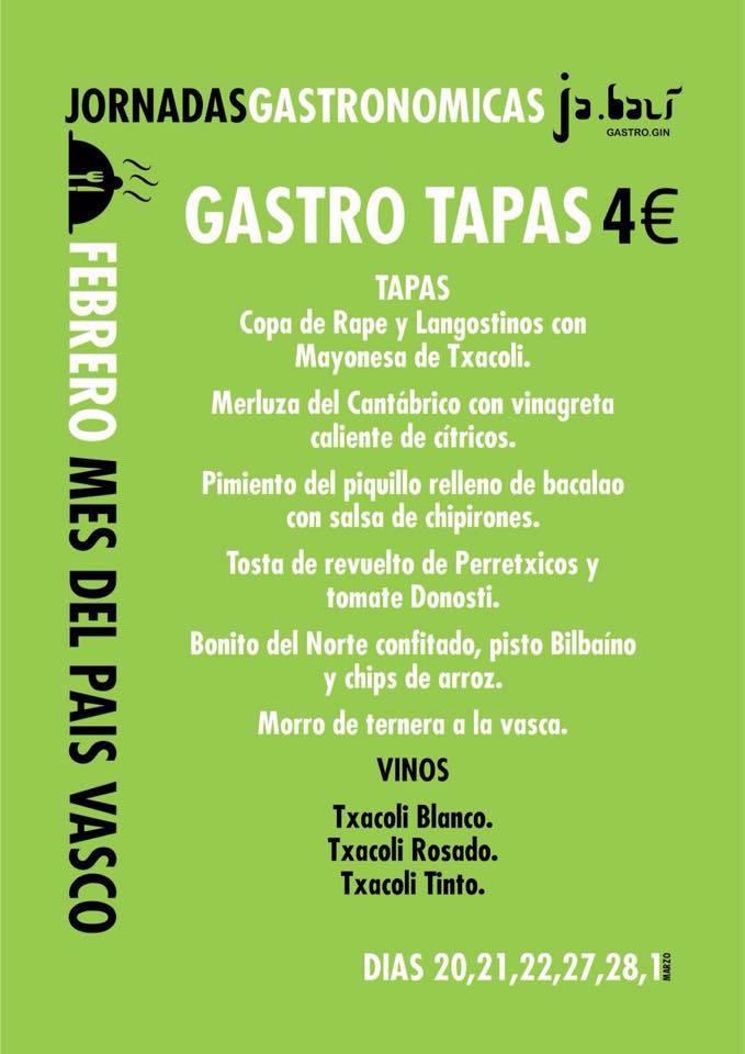 II Jornadas Gastronómicas Ja.bali Gastro Gin_Pais Vasco