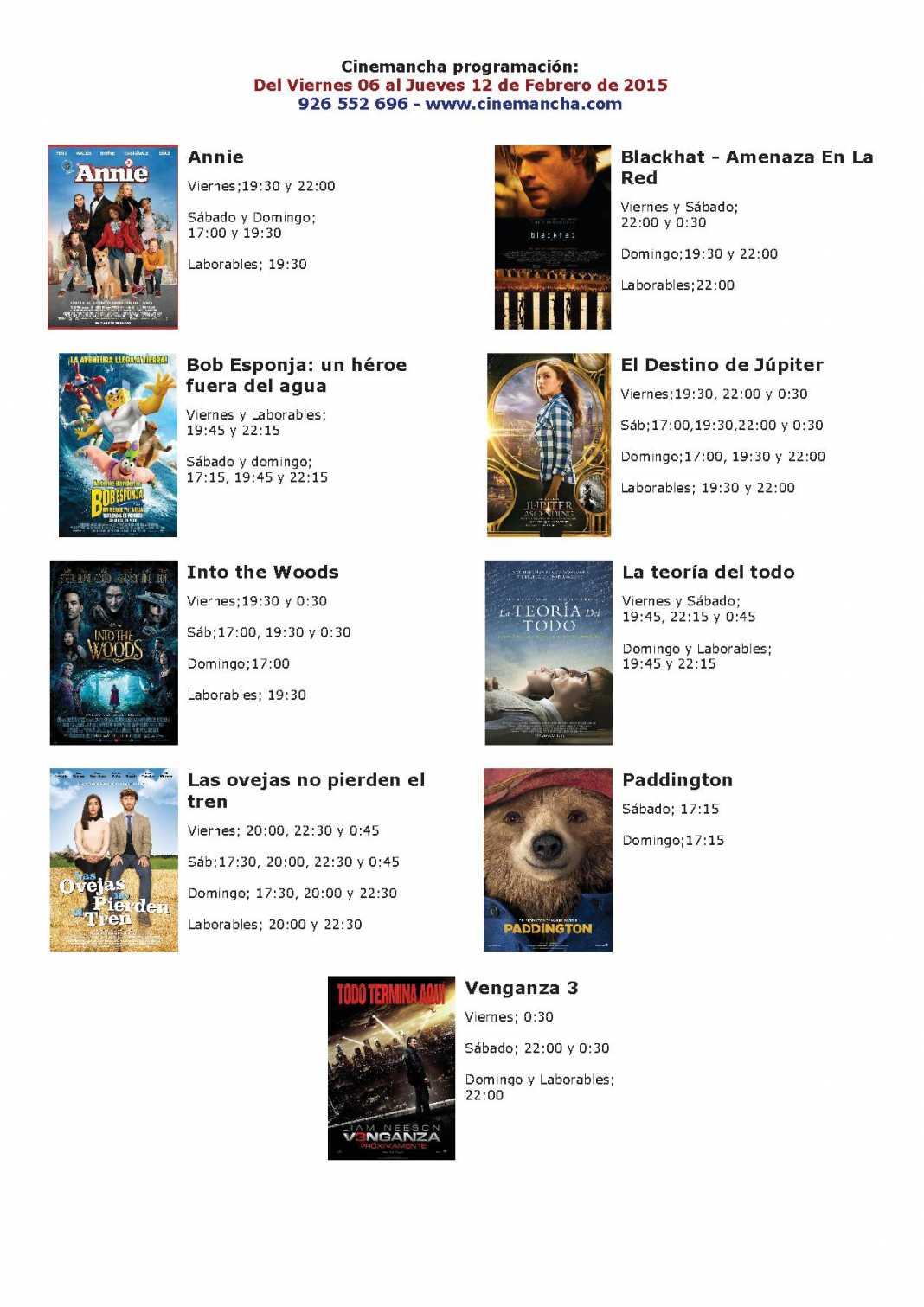 Cartelera de Cinemancha del 06 al 12 de febrero 1