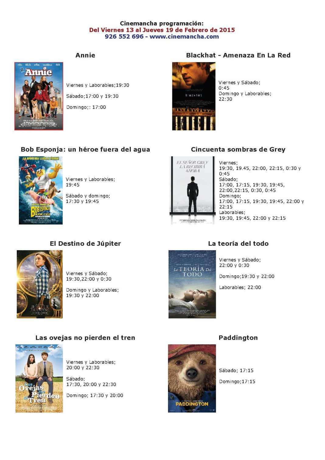 Cartelera de Cinemancha del 13 al 19 de febrero 1