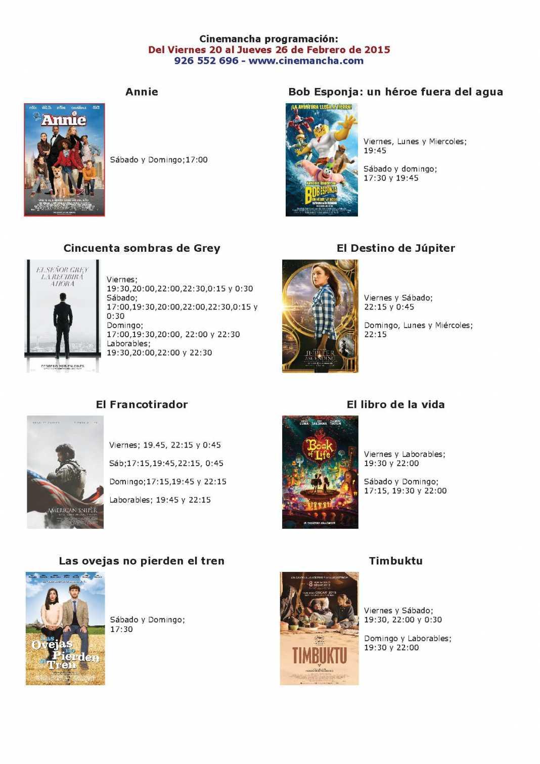 Cartelera de Cinemancha del 20 al 26 de febrero 1