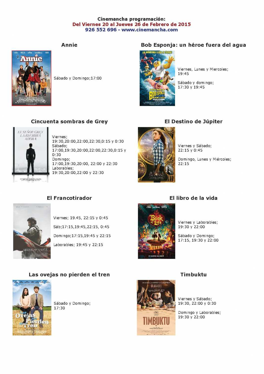 cartelera de cinemancha del 20 al 26 de febrero 1068x1511 - Cartelera de Cinemancha del 20 al 26 de febrero