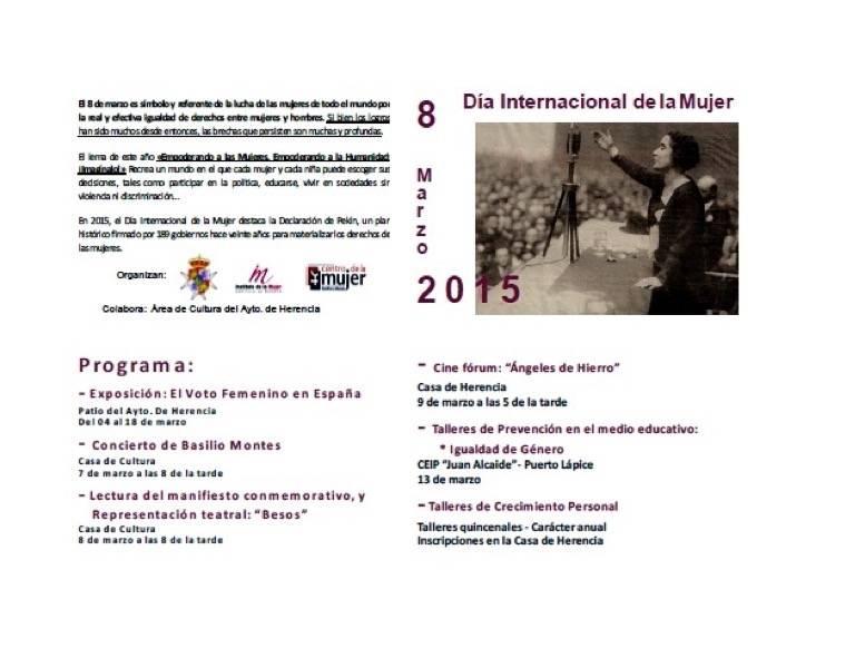 herencia 8 marzo 3 - Concierto de Basilio Montes, teatro, videofórum, exposición y talleres, en Herencia con motivo del Día Internacional de la Mujer