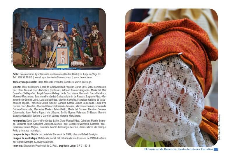 pagina de creditos de la guia turistica del carnaval de herencia - Guía turística del carnaval de Herencia y programa de actividades 2015 descargable en pdf