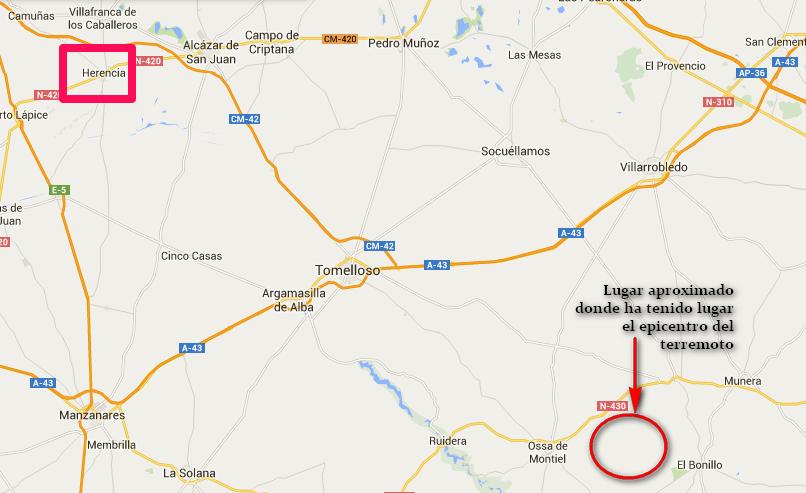 Herencia tiembla a causa de un terremoto con epicentro en la provincia de Albacete 1