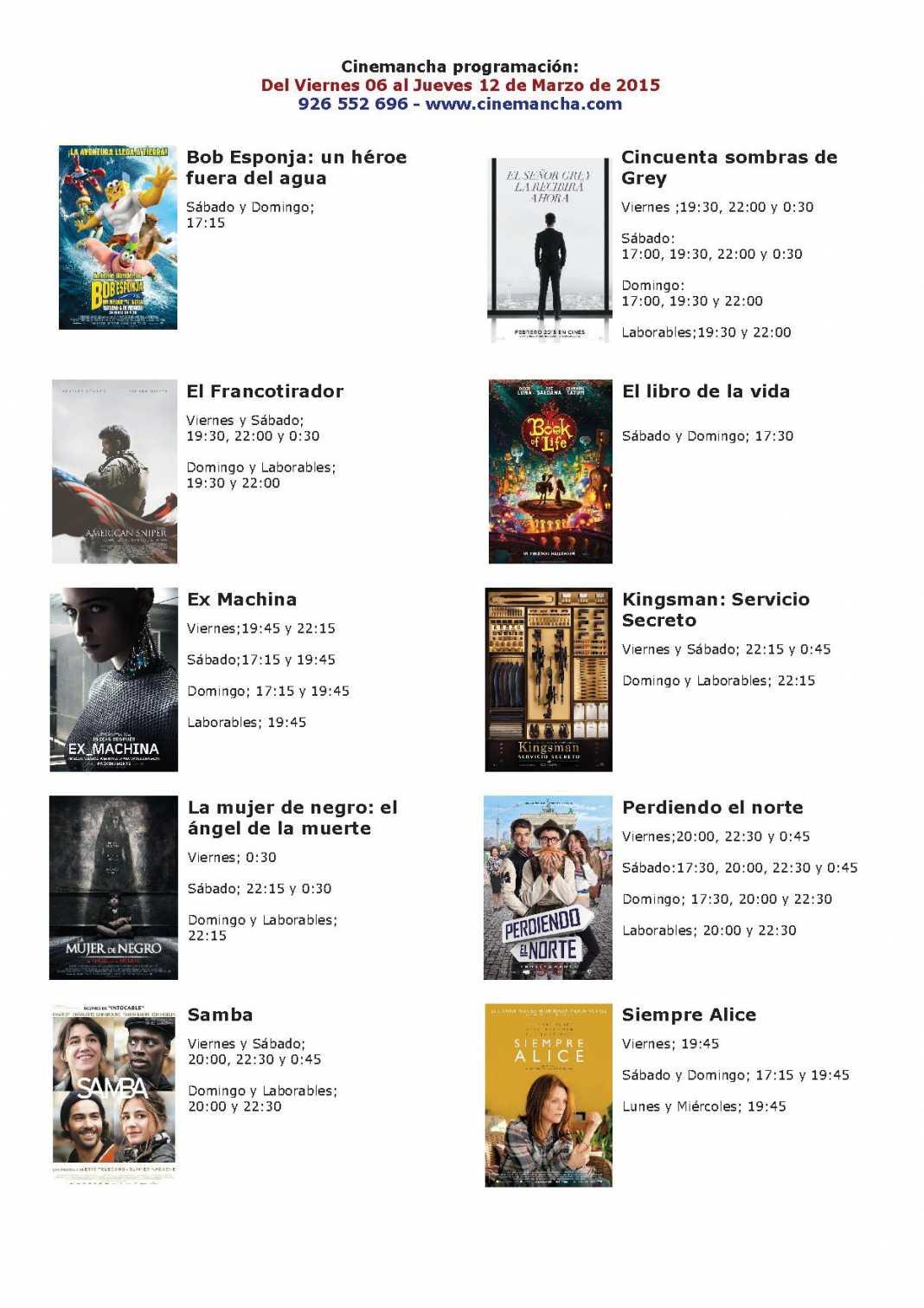 Cartelera Cinemancha del 06 al 12 de marzo 1
