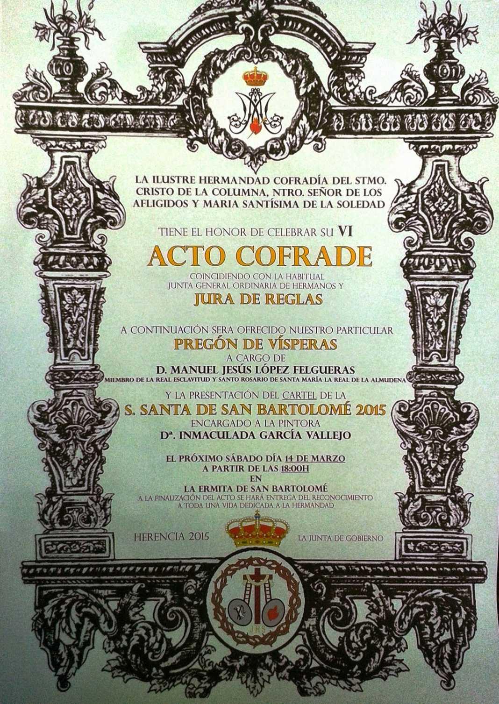 """Cartel acto cofrade hermandad de El Santo 1068x1507 - Acto cofrade de la Hermandad de """"El Santo"""""""