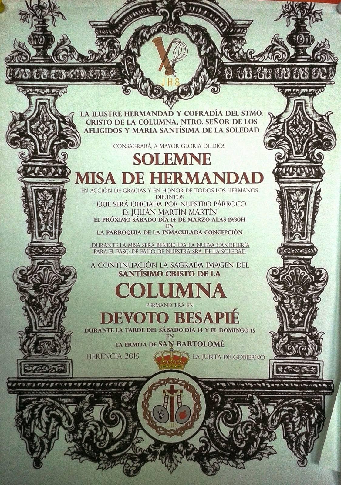 """Cartel besapi%C3%A9 Cristo de la Columna - Acto cofrade de la Hermandad de """"El Santo"""""""