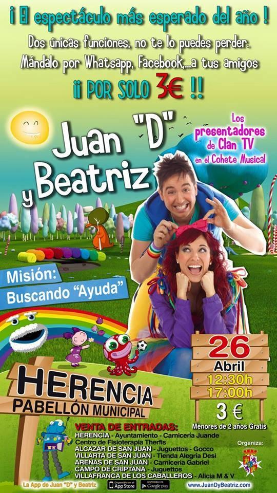 Cartel conceirto de Ciudad Arco Iris en Herencia - Juan D y Beatriz presentan su espectáculo Misión Buscando Ayuda en Herencia