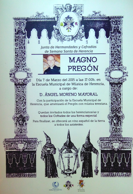 Cartel pregón de Semana Santa - Ángel Moreno Mayoral dará el pregón de Semana Santa