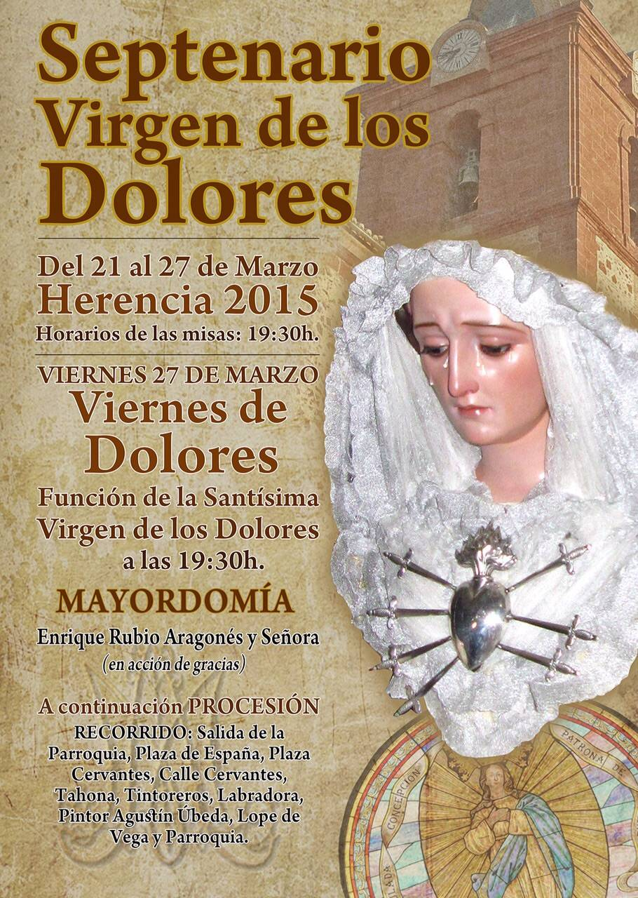Cartel Septenario y procesión de la Virgen de los Dolores