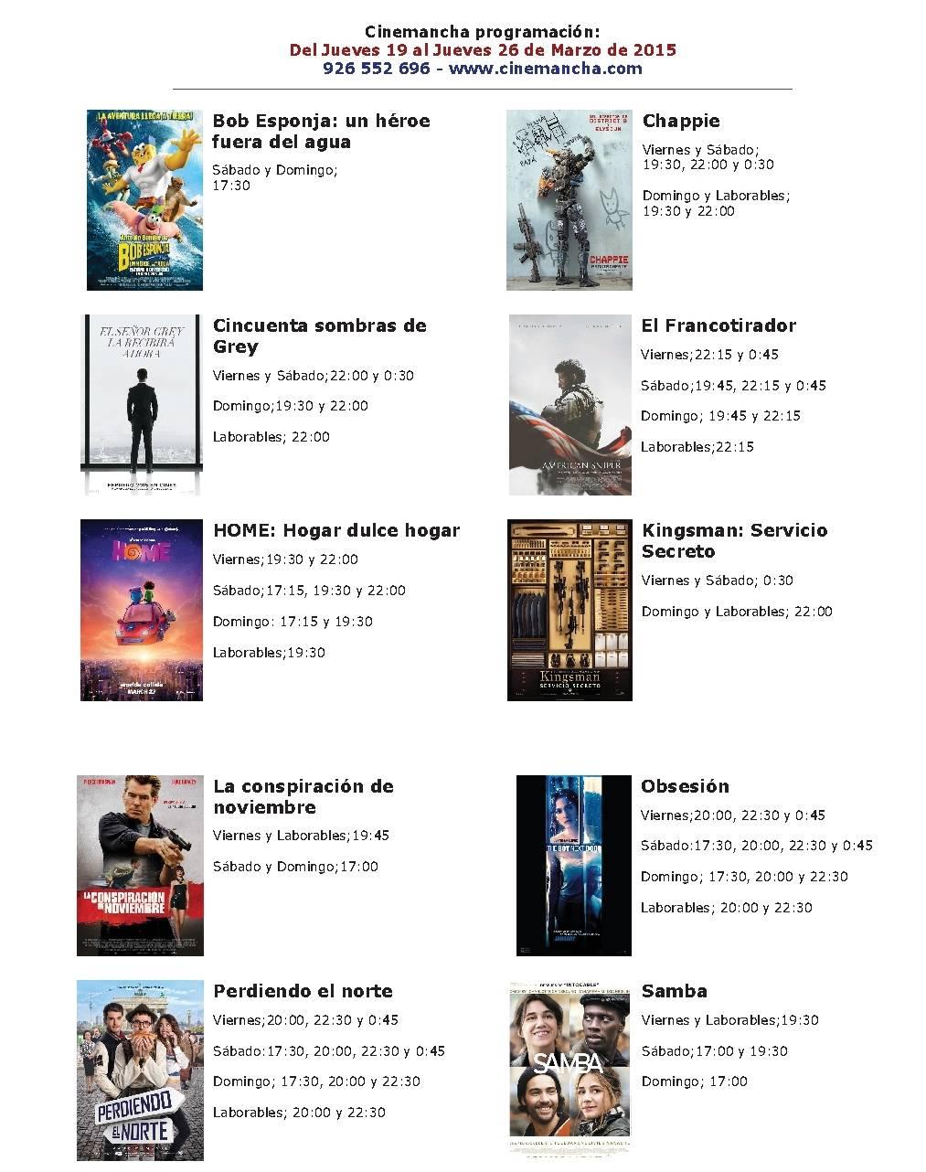 cartelera de cinemancha del jueves 19 al jueves 26 de marzo - Cartelera de Cinemancha del jueves 19 al jueves 26 de marzo