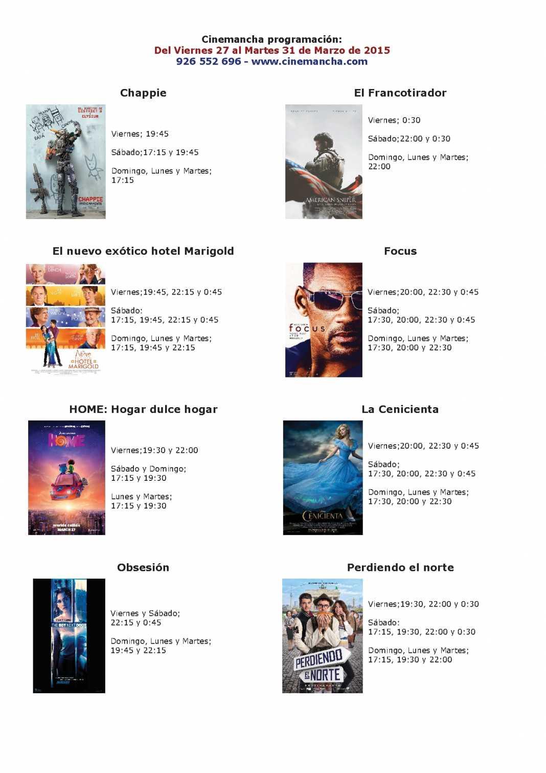 Cartelera de Cinemancha del viernes 27 al martes 31 de marzo 1