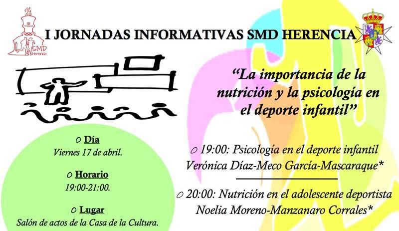 Cartel charla informativa sobre psicologia y nutricion deportiva - Primeras jornadas informativas sobre deporte en Herencia