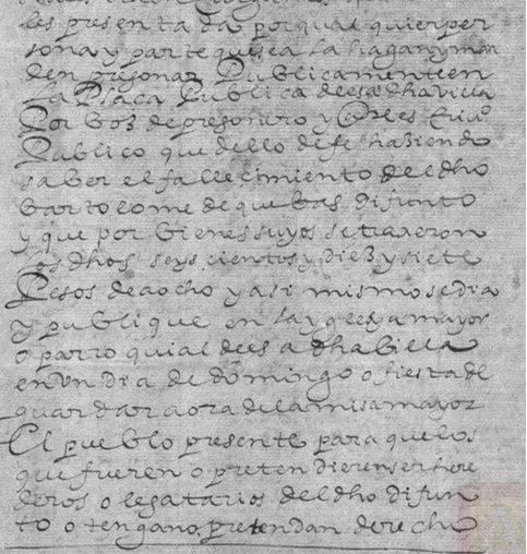 Comunicación del fallecimiento del herenciano Bartolomé de Cuevas Rodríguez