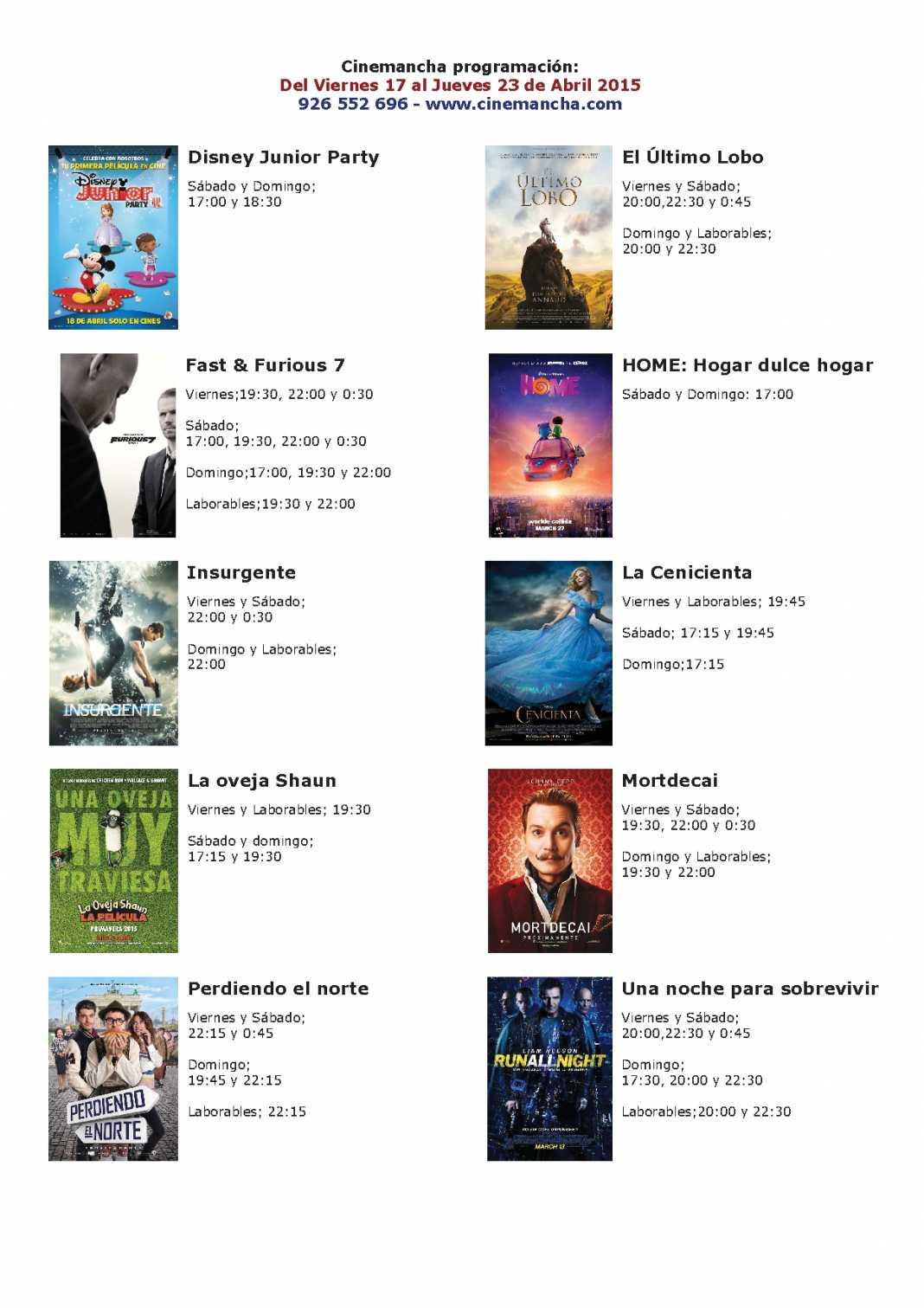 Cartelera de Cinemancha del 17 al 23 de abril 1