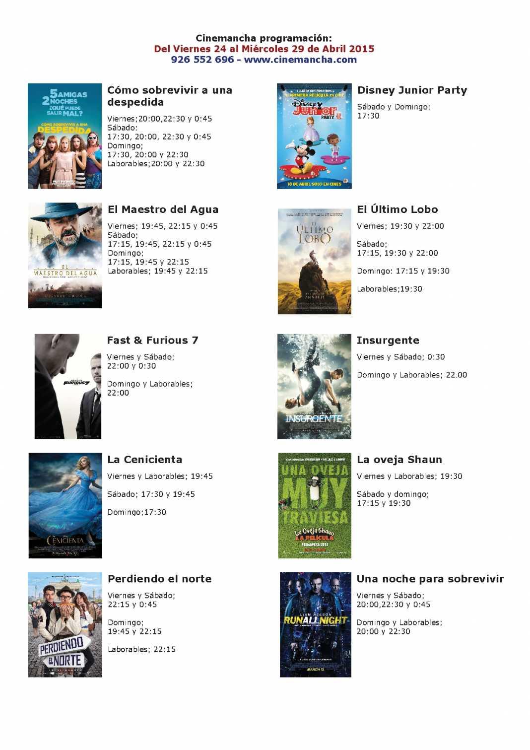 Cartelera de Cinemancha del 24 al 29 de abril 1