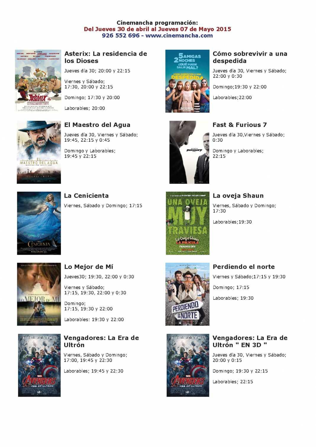 Cartelera de Cinemancha del jueves 30 abril al jueves 07 mayo 1