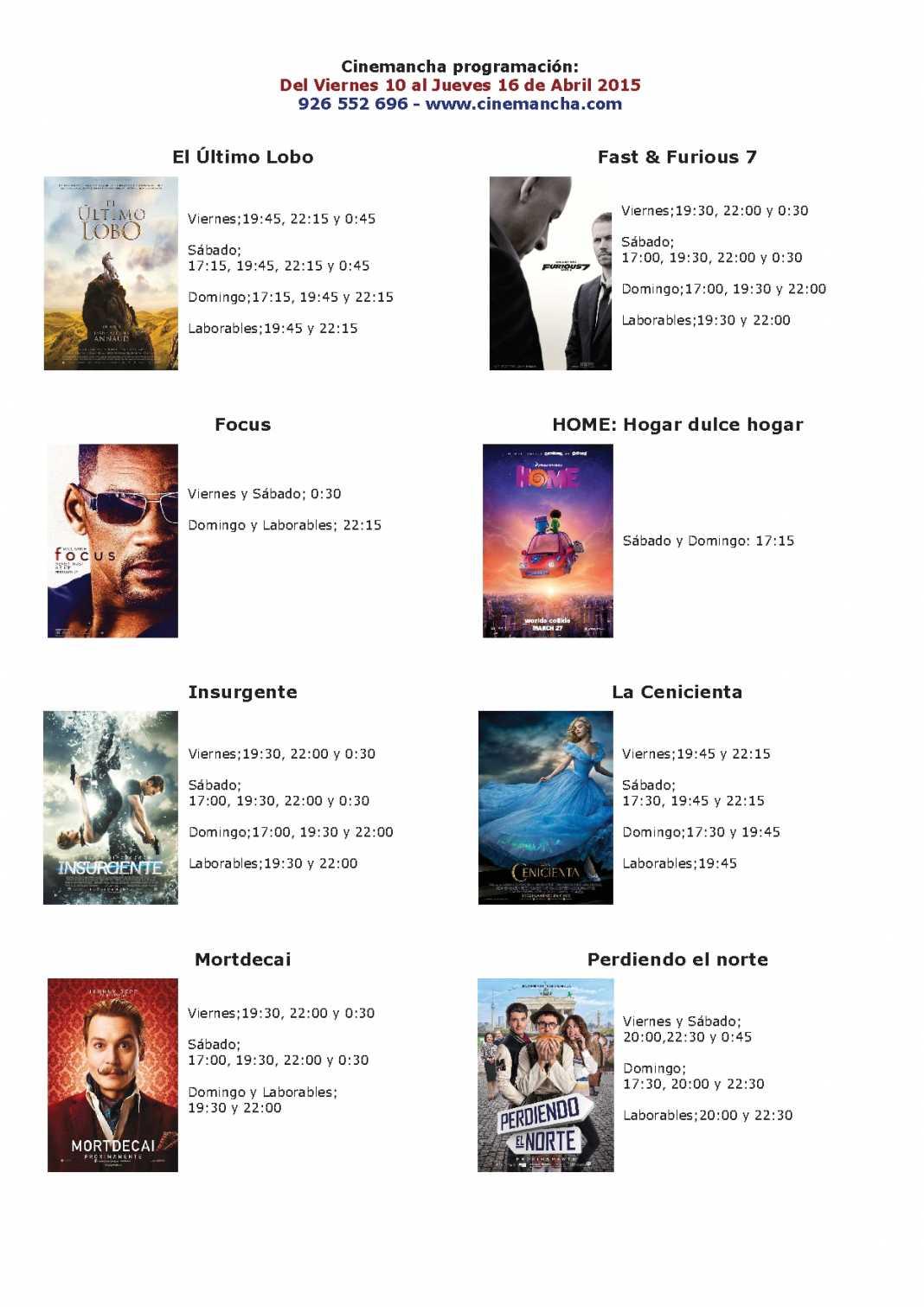Cartelera del 10 al 16 de abril, Multicines Cinemancha 1