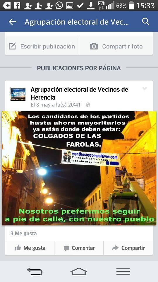 """Agrupaci%C3%B3n Electoral de Vecinos en Herencia AEdVH Partido Popular - El PP denuncia a Asociación Electoral de Vecinos de Herencia ante la Junta Electoral de Zona por su """"radicalismo"""""""