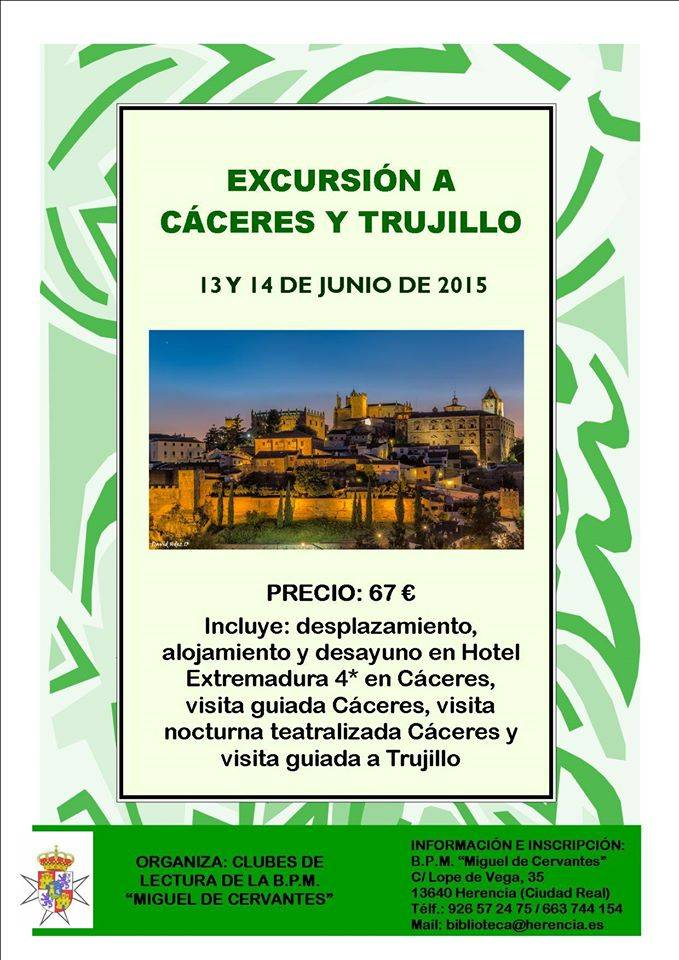 La biblioteca municipal organiza un viaje a Cáceres y Trujillo 1
