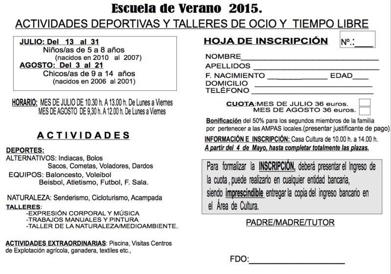 Ficha de inscripción Escuela de Verano 2015