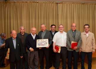 (De izq. a dcha.) Francisco Romero, Honorio Rodríguez, José Jiménez, el obispo Antonio Algora, Francisco José López Sáez, Julián Martín, Ángel Daniel de Toroy Luis Manzaneque