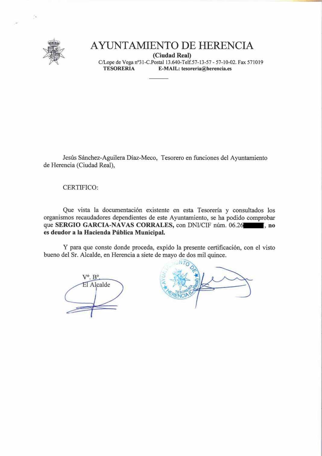 Sergio García Navas Psoe Herencia 1068x1510 - El PSOE de Herencia hace público los documentos que acreditan a sus candidatos como no deudores con el Ayuntamiento de Herencia