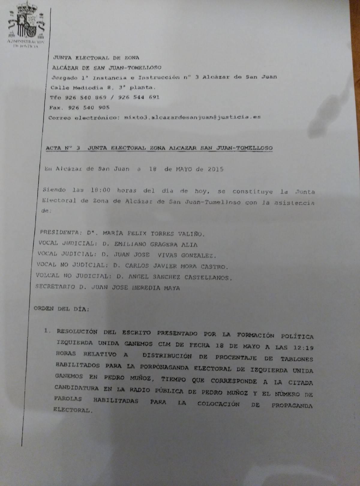 acta junta electoral pagina 1 - La Agrupación Electoral de Vecinos de Herencia no gana ninguna demanda contra el PP