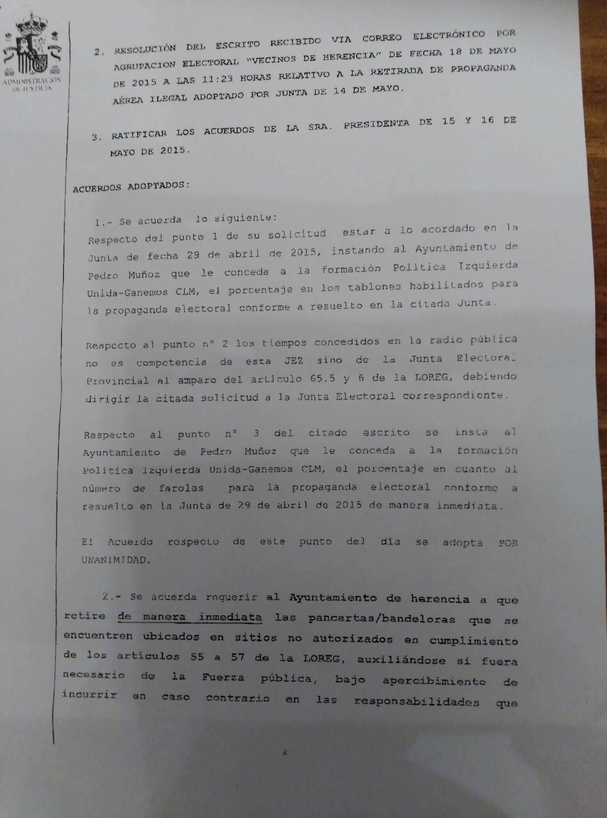 acta junta electoral pagina 2 - La Agrupación Electoral de Vecinos de Herencia no gana ninguna demanda contra el PP