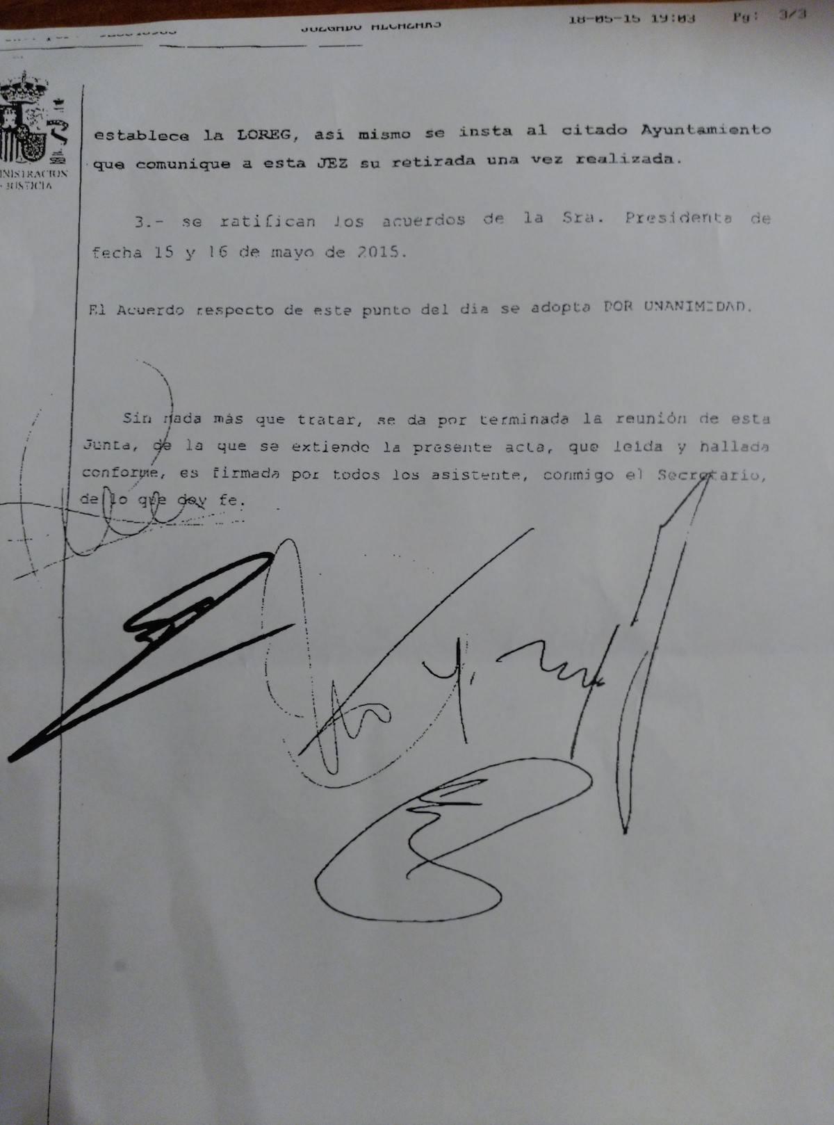 acta junta electoral pagina 3 - La Agrupación Electoral de Vecinos de Herencia no gana ninguna demanda contra el PP