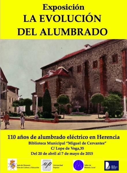 cartel exposicic3b3n 110 ac3b1os de alumbrado electrico en herencia - Muestra sobre el alumbrado eléctrico de Herencia en la biblioteca