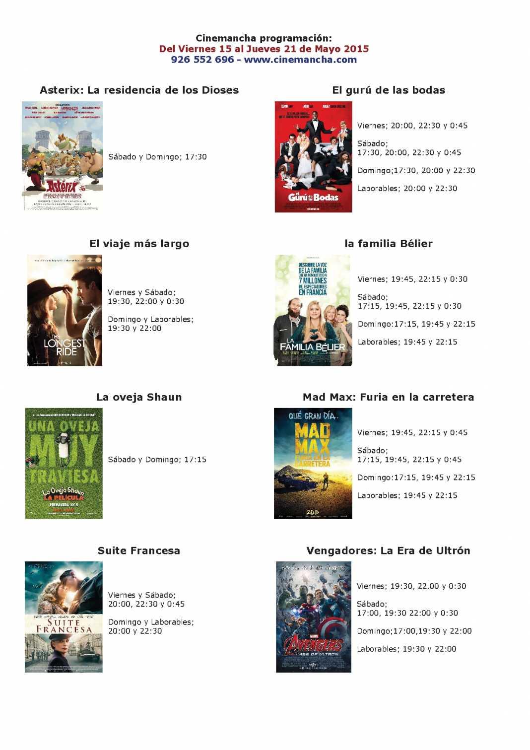 Cartelera del 15 al 21 de mayo Multicines Cinemancha 1