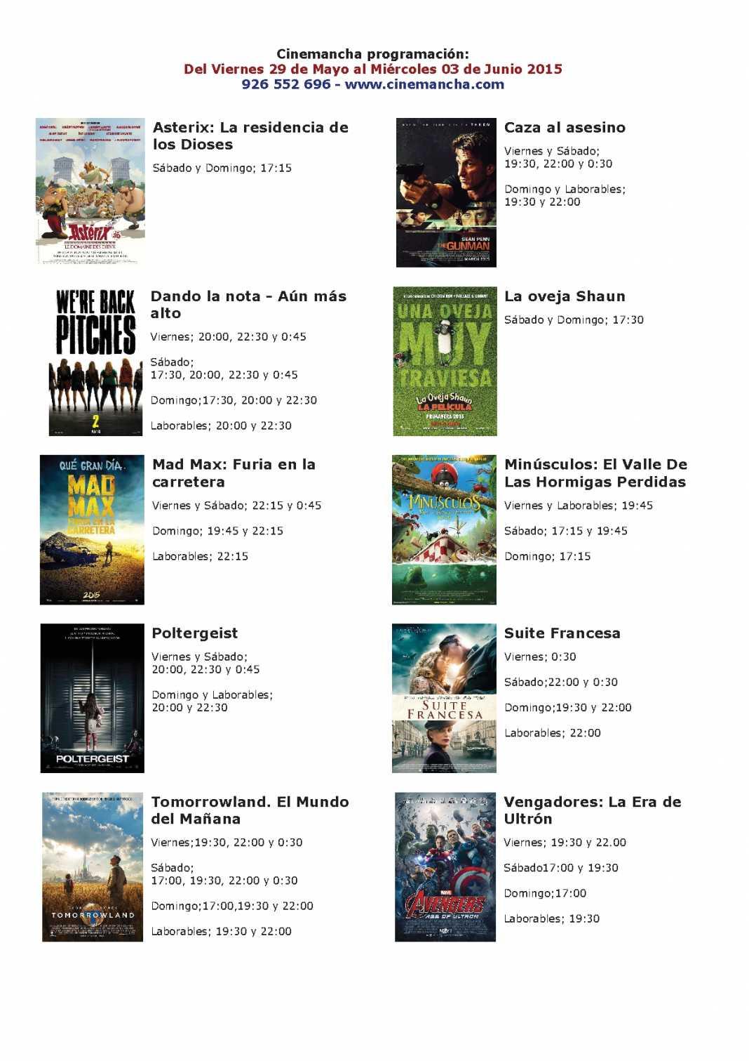 Cartelera de Cinemancha del viernes 29 de mayo al miércoles 03 de junio 1