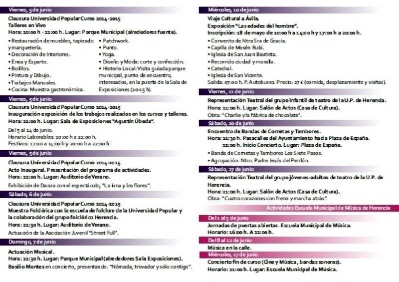 herencia cultura junio b - El Ayuntamiento de Herencia programa un junio muy cultural, con teatro, música y la clausura de todo un año en la Universidad Popular