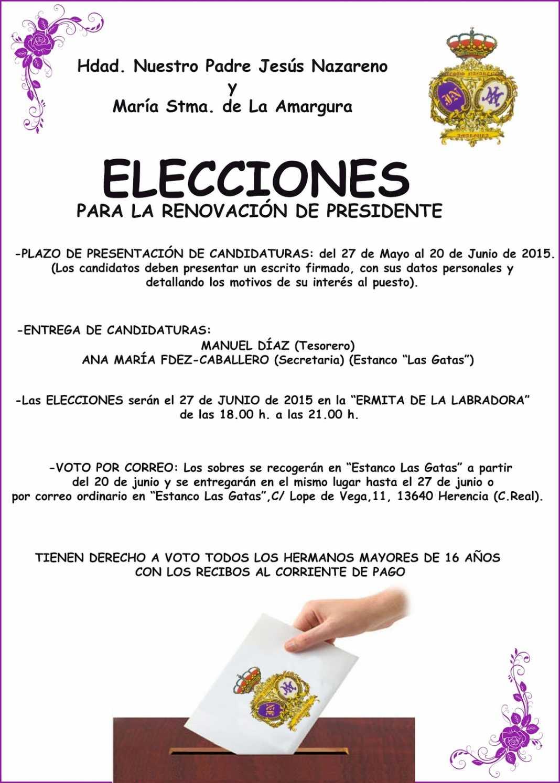 CARTEL ELECCIONES hermandad Jesús Nazareno Los Moraos 1068x1495 - La Hermandad de Jesús Nazareno busca nuevo hermano mayor