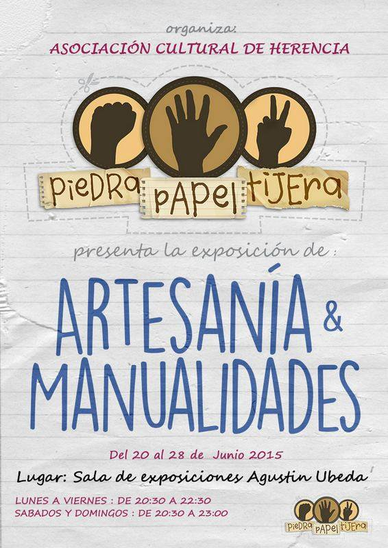 CARTEL PARA INTERNET EXPOSICION 2015 herencia - Exposición de manualidades y artesanía de la asociación Piedra Papel Tijera
