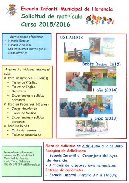 Cartel Matricula Escuela Infantil de Herencia 2015-2016